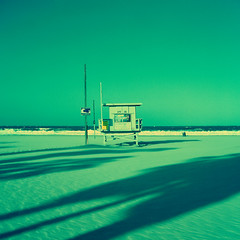 ave 26. venice beach, ca. 2013. (eyetwist) Tags: ocean california venice 6 seascape green tower 120 6x6 mamiya film beach analog mediumformat square 50mm la stand losangeles los xpro crossprocessed sand surf waves shadows cross pacific angeles crossprocess lifeguard icon ishootfilm hut pacificocean socal chemistry 400 transparency pro venicebeach konica positive analogue mamiya6 process processed baywatch westla emulsion angeleno c41toe6 oceanfrontwalk c41e6 eyetwist 6mf mamiya6mf theicon 26thavenue konicapro400 ave26 epsonv750pro betterlivingthruchemistry negativetoslide av26 emusion filmexif filmtagger eyetwistkevinballuff mamiya50mmf4l crossprocessedc41toe6 xproc41toe6