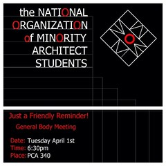 "NOMAS members! Don't forget about our general body meeting tomorrow after studio at 6:30PM in PCA 340. • <a style=""font-size:0.8em;"" href=""http://www.flickr.com/photos/109776203@N02/13548289333/"" target=""_blank"">View on Flickr</a>"