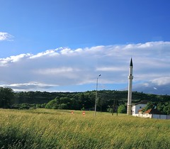Macedonia-A country mosque (ustung) Tags: sky field landscape nikon outdoor country mosque macedonia
