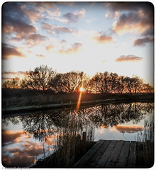 Sundown at Horsey Mill, Norfolk. (lizzieisdizzy) Tags: sunset sundown norfolk mere horsey broads water picturesque beatiful serene quiet calm cloud reflections walkway wooden trees sunlight bright eastofengland eastcoast