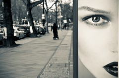 I've got my eye on you (The Green Album) Tags: street city urban woman berlin eye face advertising poster lips