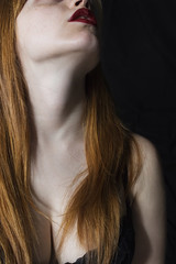 Untitled (Berry_92) Tags: red portrait woman white colors girl skin head longhair lips
