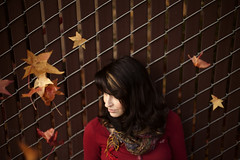 Leigh (Katie Jean Photography) Tags: november autumn trees winter red fall love girl beautiful leaves scarf fence happy leaf sweater december sad seasons boots gorgeous