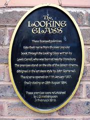 Photo of Charles Lutwidge Dodgson, Odeon Cinema, Warrington, and John Gomersall black plaque