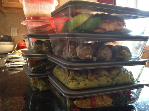 All in a day's work for my vegan-wife; South Beach-hubby clients.  Half of each meal gets packaged for the freezer.