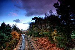 Railway bridge pirbright (justyourcofchi) Tags: bridge blue autumn sky tree clouds model woods long exposure flickr track photographer railway nd grads pirbright chiarnold justyourcupofchicom justyourcupofchi