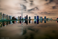 Silence (DanielKHC) Tags: water skyline night clouds reflections bay nikon dubai cityscape uae calm business khalifa silence burj d300 danielcheong danielkhc tokina1116mmf28