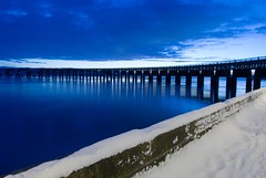 Blue Snow  - Tay Rail Bridge Dundee - Winter Scene (Magdalen Green Photography) Tags: longexposure pretty riverside dundee winterscene coolblue bluesnow scottishwinter tayrailbridgedundee iaingordon dundeewestend scottishwinterscene magdalengreenphotography