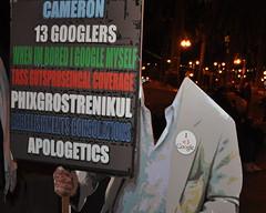 Frank Chu homage at OccupySF CSC_0158 (Steve Rhodes) Tags: sf sanfrancisco california ca night evening google satire protest parody frankchu homage economy justinhermanplaza 2011 jhp occupy