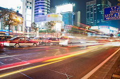 Shanghai night traffic (Storkholm Photography) Tags: china street city cars night buildings lights nikon downtown shanghai traffic trails  peoplesrepublicofchina  d90 huahairoad   henanroad tokina1116mm