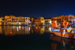 Old harbour at night (Theophilos) Tags: reflection night boats crete rethymno oldharbour