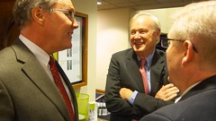 Tim, Chris Matthews and Sam, chat before the forum
