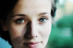 smiling eyes (laura zalenga) Tags: shadow woman green girl smile face self mouth eyes close snapshot gaze laurazalenga
