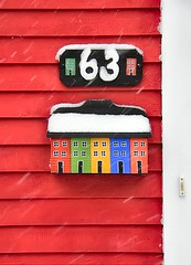 Mail for #63 (Karen_Chappell) Tags: winter red snow mailbox newfoundland december mail snowy stjohns number snowing colourful nfld rowhouse