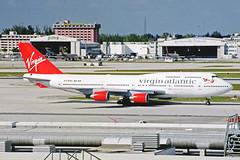 G-VAST 1 Boeing 747-41R Virgin Atlantic Airways MIA 27JAN99 (Ken Fielding) Tags: airplane aircraft jet boeing jumbojet airliner jetliner virginatlanticairways gvast b74741r