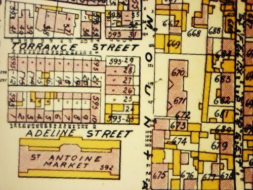 Montréal 1907. Secteur du Marché Saint-Antoine.