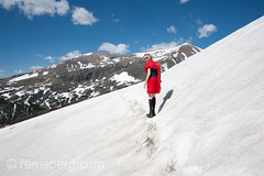 Young girl hiking mountain in Colorado www.remsberg.com (Remsberg Photos) Tags: usa west youth children landscape outdoors colorado funny hiking humor denver rockymountain younggirl snowcappedmountains southparkcolorado outdoorthings