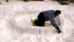 Jon lays out the first course of blocks for our igloo Photo