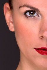 half dorszi (wunderskatz) Tags: red portrait woman cute girl beautiful face glamour eyes shiny makeup lips half dorszi