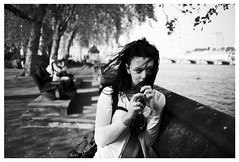 windswept girl by the thames (gorbot.) Tags: portrait blackandwhite bw london westminster thames f2 canonef35mmf2 roberta canoneos5d silverefex
