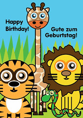 Icklelingo Birthday card German (jungle) (Icklelingo) Tags: card englishgerman icklelingo