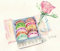 Floral Macarons Jan 12 (Paris Breakfast) Tags: watercolor macarons