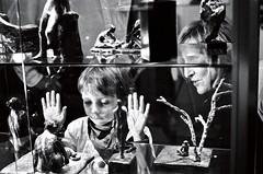 show me the magic (gguillaumee) Tags: city boy bw sculpture paris glass kid hands fuji child grain mother neopan teaching transparent attention showcase bastille interest leicam7 exhibtion 1600iso summicron50mm aellechaplet