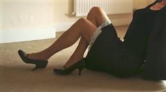 Skirt suit for interview. (deborah summers2010) Tags: stockings dress skirt slip satin