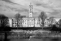 Nottingham University (PeteZab) Tags: nottingham uk greatbritain england blackandwhite bw lake building tree tower clock water architecture campus mono education university learning trentbuilding modelboat modelyacht canoneos50d petezab peterzabulis sigma1770f284dcmacroos