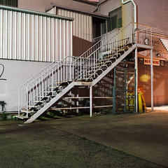 Eighteen Step Escape (Dr Abbate) Tags: longexposure nightphotography building industry architecture night stairs square industrial steps melbourne brunswick stairway warehouse fireescape
