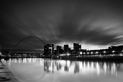 Quayside LE (.Paul Jones.) Tags: bridge blackandwhite bw white black reflection clouds river newcastle long exposure tyne newcastleupontyne