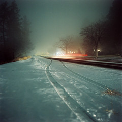 (zachmccaffree) Tags: road justin winter snow cold cars 120 6x6 mamiya film night analog square drive kodak iso spooky professional bleak medium format frigid portra 800 f28 bieber 80mm c330 c330f
