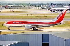 N421AV Boeing 767-2B1ER AVIANCA Colombia LHR 15AUG00 (Ken Fielding) Tags: n421av b7672b1er boeing aviancacolombia aircraft airplane airliner jet jetliner widebody