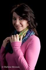 Pretty in pink. (Darlene348) Tags: portrait beautiful female scarf brunette umbrellas younggirl pinktop strobist nikond5000 nikonsb700