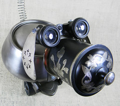 Robot Dog - Jewelry Box - BEGONIA - Reclaim2Fame (Reclaim2Fame) Tags: sculpture dog vintage puppy robot stainlesssteel mixedmedia steel foundobject jewelrybox recycledmaterials salvaged assemblagesculpture jewelryholder robotassemblage