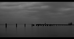 North Ave Beach (rseidel3) Tags: sunset blackandwhite chicago beach water clouds lakemichigan