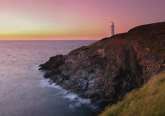Headland hues (snowyturner) Tags: longexposure pink sunset lighthouse landscape coast cornwall day waves cloudy head atlantic hues afterglow trevose