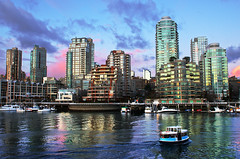 Vancouver City Skyline at False Creek (TOTORORO.RORO) Tags: city travel light sunset canada color reflection ferry skyline vancouver lens mirror bc britishcolumbia sony tourist falsecreek translucent granvilleisland alpha f28 hdr slt ssm greatervancouver a55 1650mm sal1650
