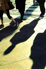 Green (drp) Tags: street nyc newyorkcity winter people ny newyork green walking shadows traffic manhattan sidewalk gloves curb mittens