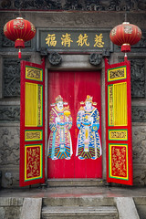 Kheng Hock Keong Temple Door (phil.w) Tags: red yellow stone wall temple gold colorful chinatown doors pentax yangon burma buddhist steps chinese myanmar lantern calligraphy limited rangoon guardians smcpfa31mmf18