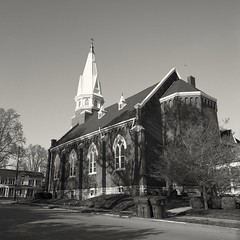 St. John's Roman Catholic Church: Georgetown, KY (matthew.vortex) Tags: blackandwhite church monochrome zeiss 50mm catholic kentucky georgetown hasselblad delta100 ilford distagon 500cm saintjohns