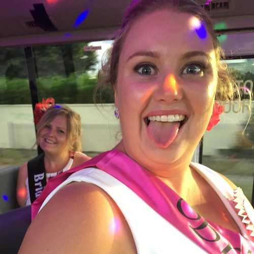 One happy bride to be on a ride with #PartyShuttleBus