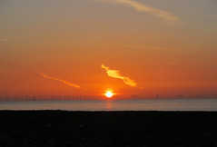 Broadstairs Sunrise (ray 96 blade (retired)) Tags: seaweed beach rocks lowwater shimmer firstlight earlymorningwalk stonebay windfarmsunrise redskygoldensun sunbeamrayoflight