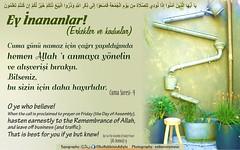 Kerim Kur'an 62-9 (Oku Rabbinin Adiyla) Tags: book god muslim islam religion bible friday allah quran verse verses cuma holybook oku kuran ayet tevhid ayetler jumua okurabbini