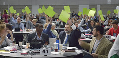 Hand voting at United Methodist General Conference (United Methodist News Service) Tags: usa church oregon portland cards technology unitedstates religion christianity voting placards unitedmethodistchurch generalconference oregonconventioncenter denomination