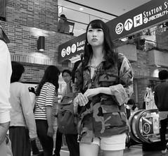 Camouflage girl (Bill Morgan) Tags: street bw tokyo fuji fujifilm kichijoji lightroomcc x100t