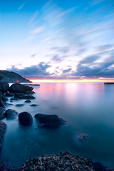 Bentenjima in 22 Nov 5:10PM (-TommyTsutsui- [nextBlessing]) Tags: longexposure pink blue light sunset sea sky lighthouse seascape beach nature yellow rock japan clouds landscape nikon dusk magic tide scenic wave shore       izu   matsuzaki sigma1020 lateautumn   onsalegettyimages