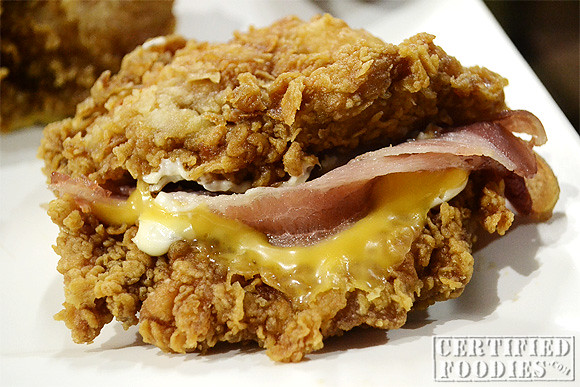 KFC Zinger Double Down sandwich - bacon, cheese, mayo