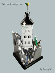 Welcome to Mitgardia (vdubguy67') Tags: winter cliff mountain snow tower castle stream king lego watch lookout medieval creation challenge moc historica afol kight eurobricks mitgardia