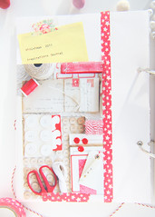 The Inside Cover (HeartHandmadeUK) Tags: christmas red white holiday art scrapbook layout december lace crochet journal cream knit page layer layers pegs embellished twine washi sewingpattern 2011 bakerstwine washitape decemberdaily